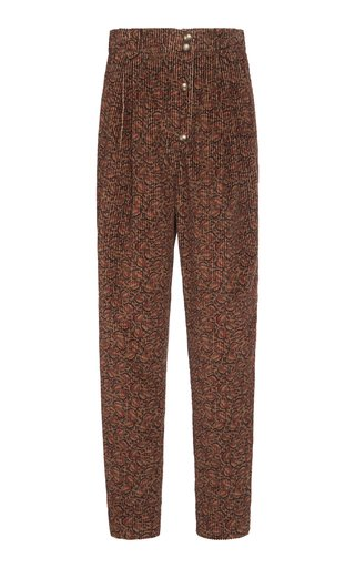 Printed Cotton-Corduroy Tapered Pants
