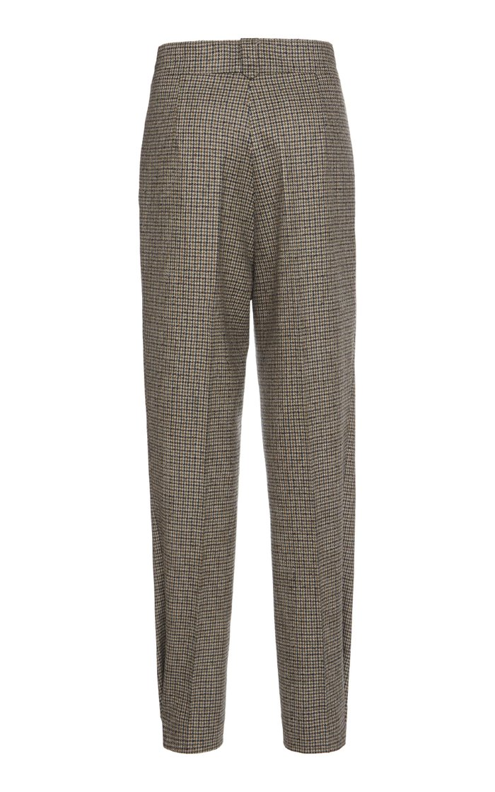 Check Wool-Blend Cropped Pants