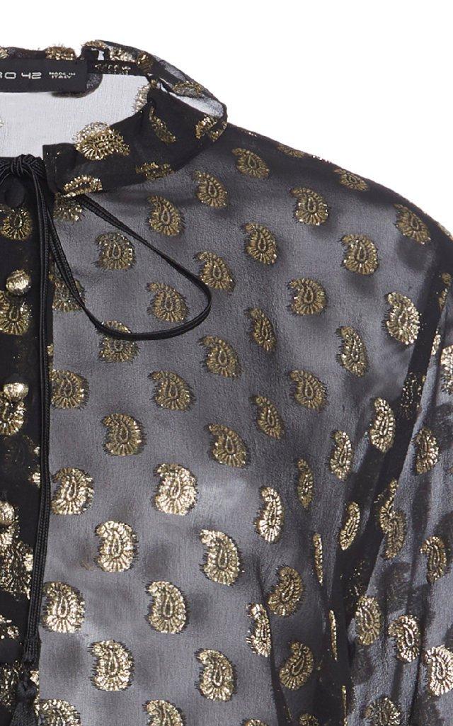 Metallic Embroidered Silk-Organza Blouse
