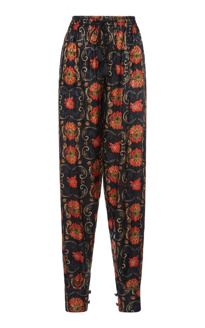 Loretta Printed Silk-Blend Tapered Pants
