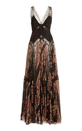 Lace-Paneled Silk-Chiffon Maxi Dress