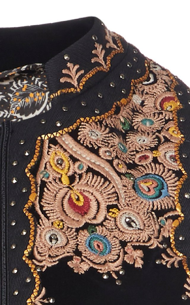 Embroidered Studded Cotton-Velvet Vest