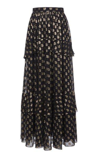 Metallic Embroidered Silk-Organza Maxi Skirt