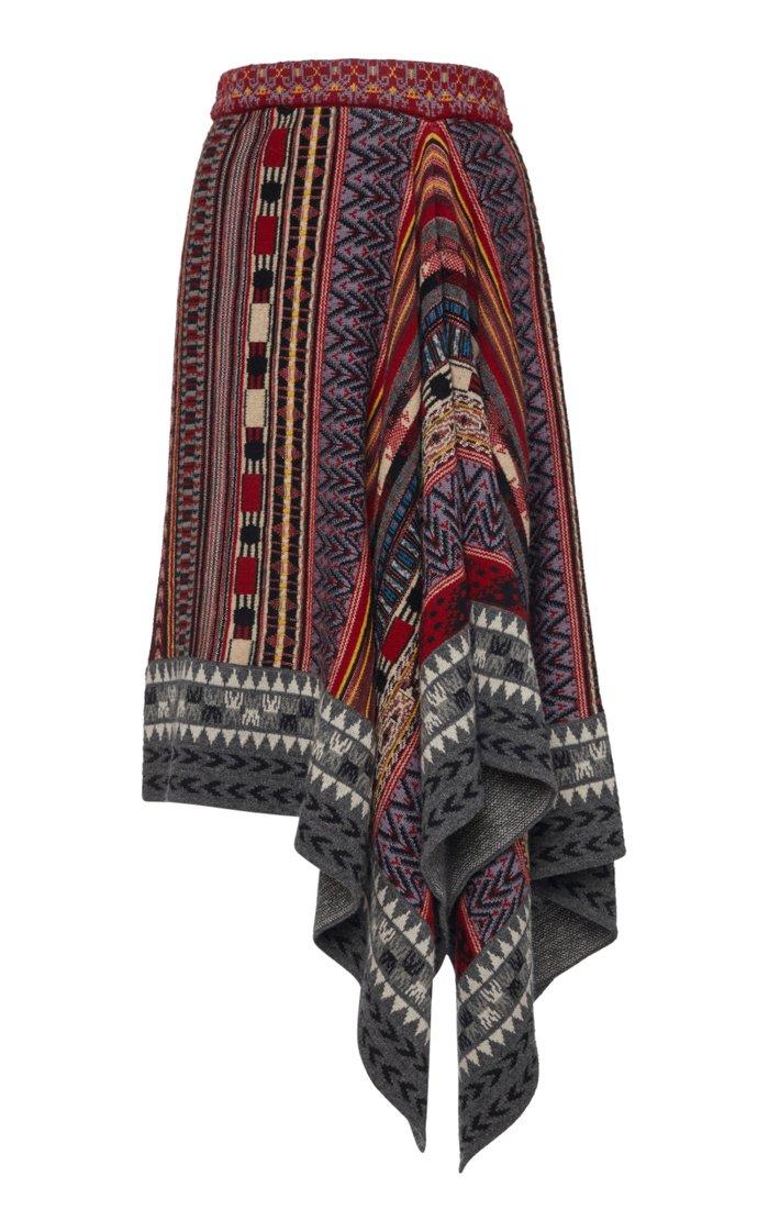 Asymmetric Intarsia Wool-Blend Midi Skirt