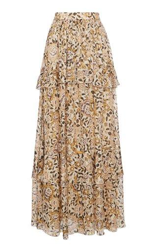 Pleated Floral-Print Silk Maxi Skirt