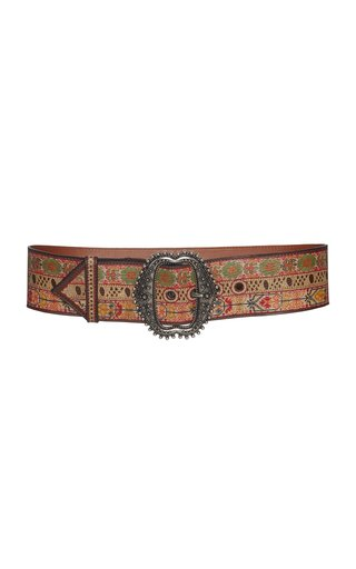 Printed Leather Waist Belt