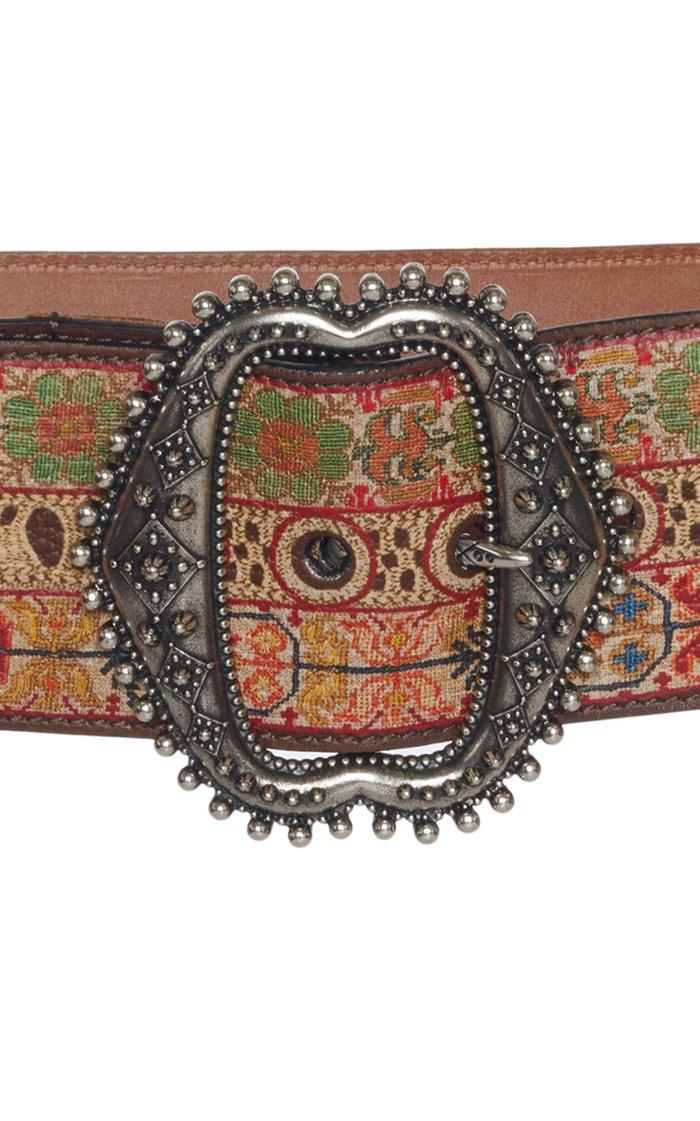 Printed Leather Waist Belt