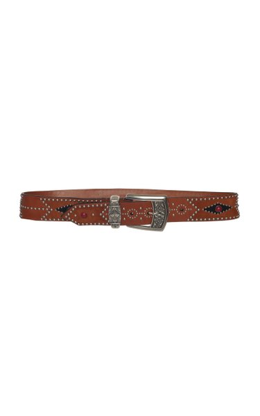 Studded Printed Leather Belt