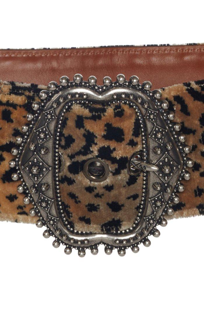Printed Velvet Leather Waist Belt