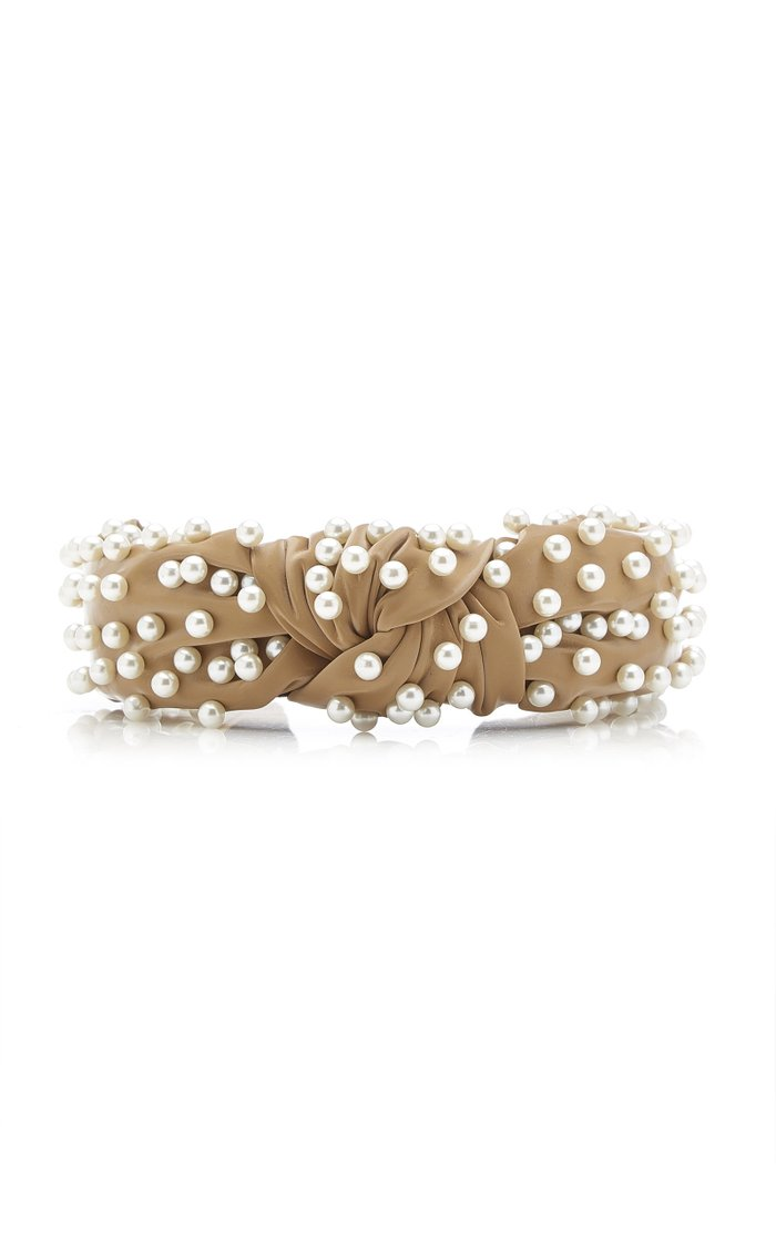 Pearl-Embellished Faux Leather Knotted Headband
