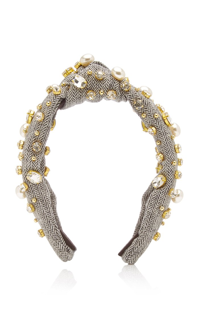 Oversized Pearl and Crystal-Embellished Tweed Headband