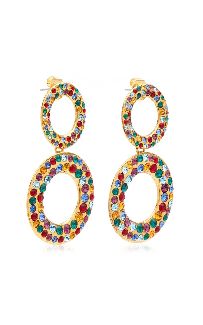 Tosca Crystal-Embellished Gold-Plated Earrings