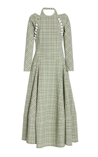 Hold My Bolero Checked Halterneck Cotton-Blend Maxi Dress