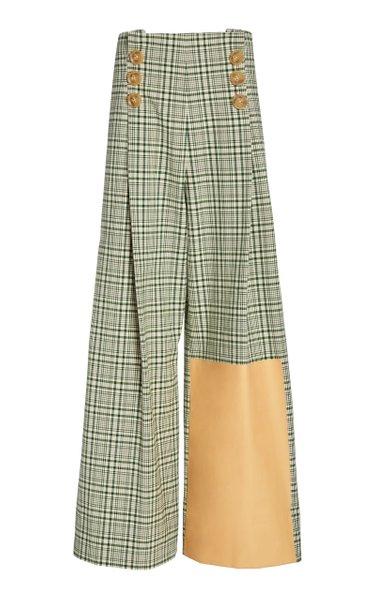 Button-Detailed Plaid Cotton Wide-Leg Pants