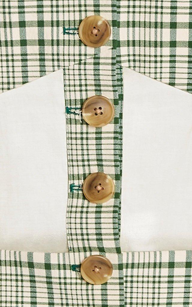 Corset-Detailed Plaid Cotton Blazer