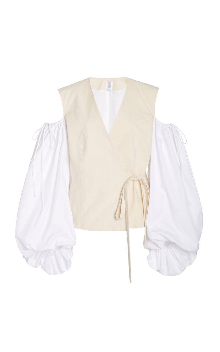 Cold-Shoulder Cotton-Poplin Wrap Top