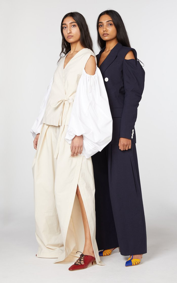 Cotton Double-Breasted Cold-Shoulder Blazer