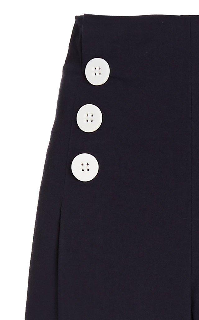 Button-Detailed Cotton Wide-Leg Pants