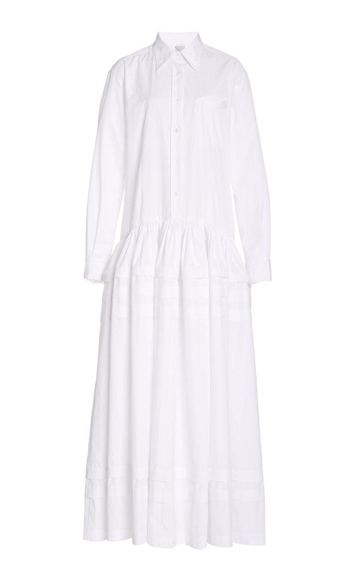 Pleated Tiered Cotton-Poplin Maxi Dress