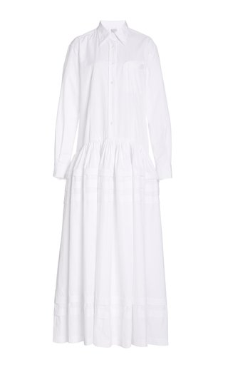 Pleated Tiered Cotton-Poplin Maxi Dress