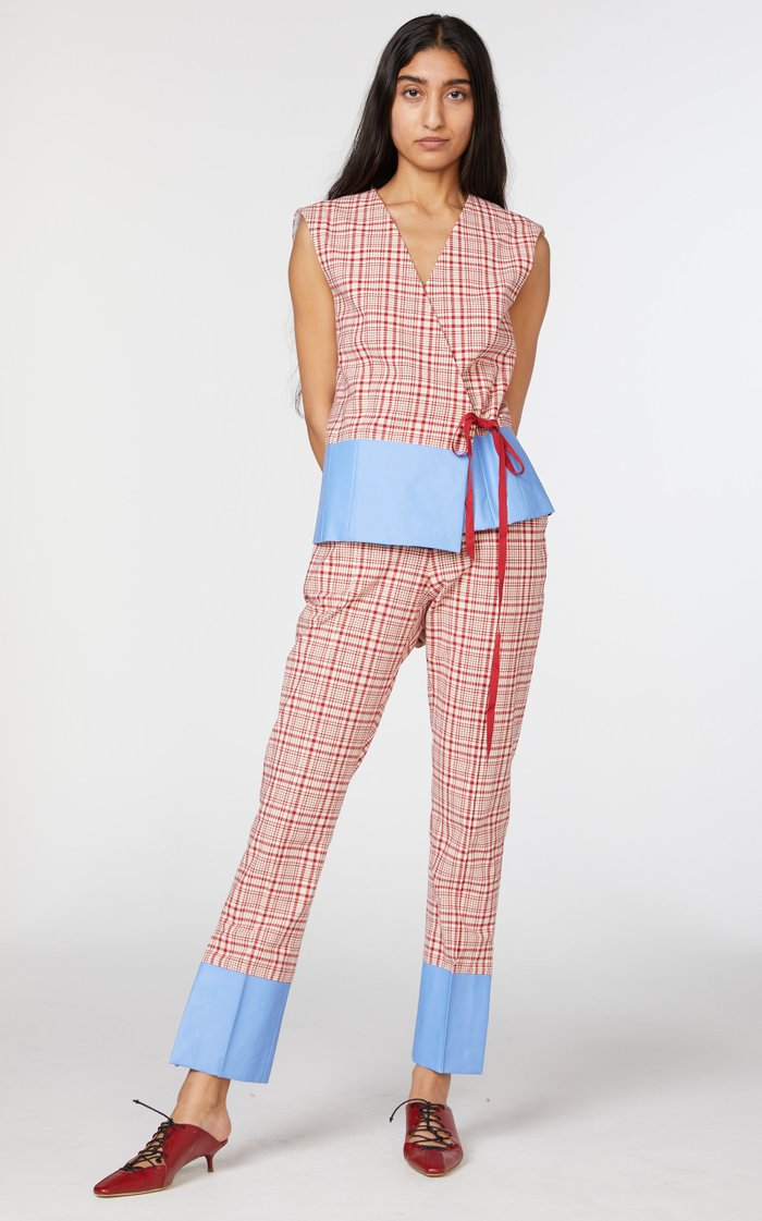 Oboe Plaid Cotton Slim Pants