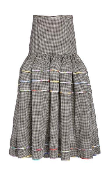 Dropped-Waist Checked Cotton Tiered Maxi Skirt