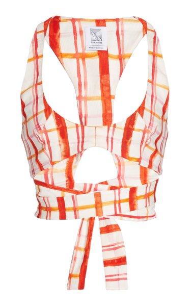 Gwyneth Plaid Cotton-Blend Bra Top