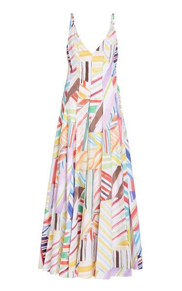 Million Pleats Printed Cotton Maxi Dress