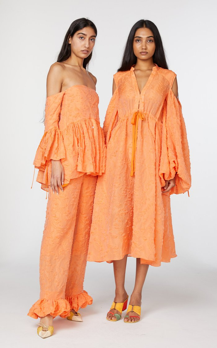Cold-Shoulder Cotton-Blend Midi Dress