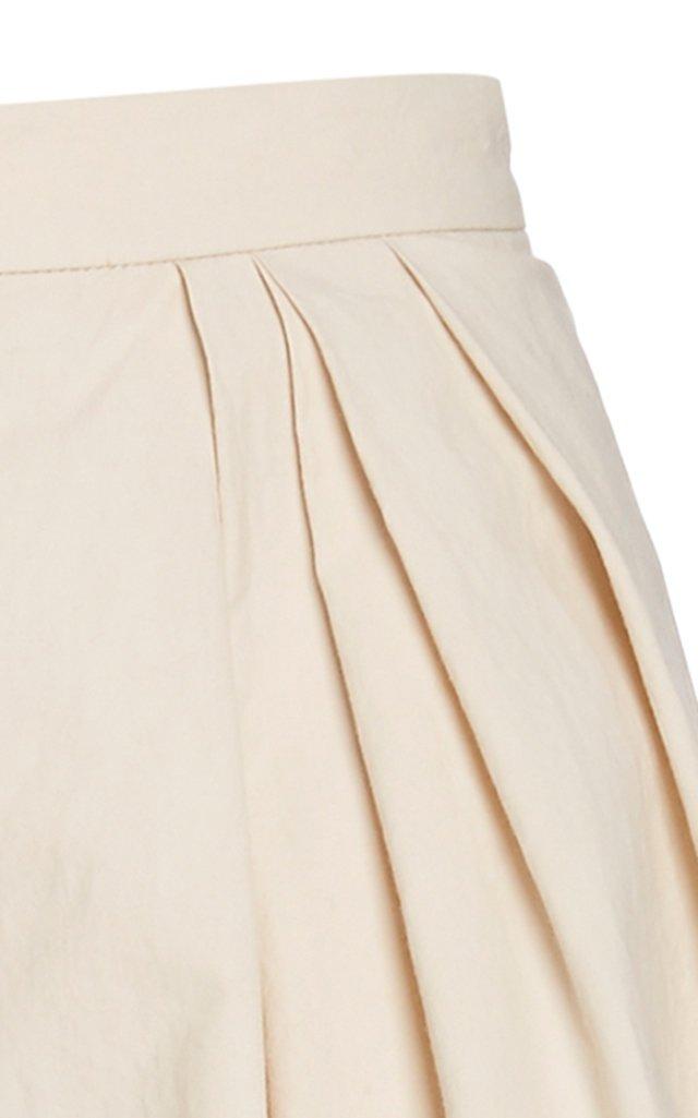 Pleated Cotton Wide-Leg Pants