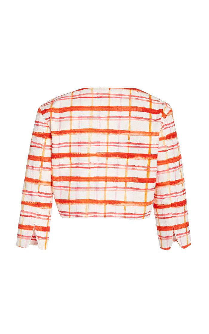 Plaid Cotton-Blend Faille Cropped Jacket