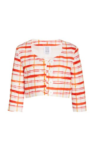 Plaid Cotton-Blend Faille Cropped Jacket