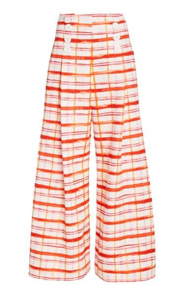 Button-Detailed Plaid Cotton-Blend Wide-Leg Pants