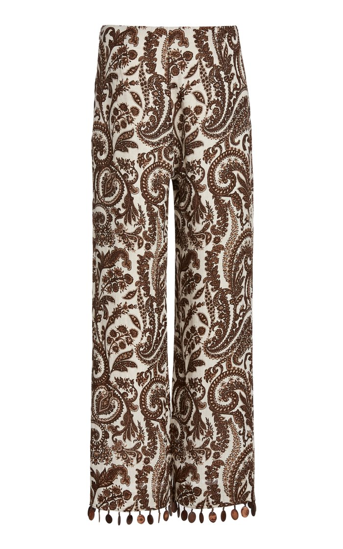 Printed Fringed Linen Straight-Leg Pants
