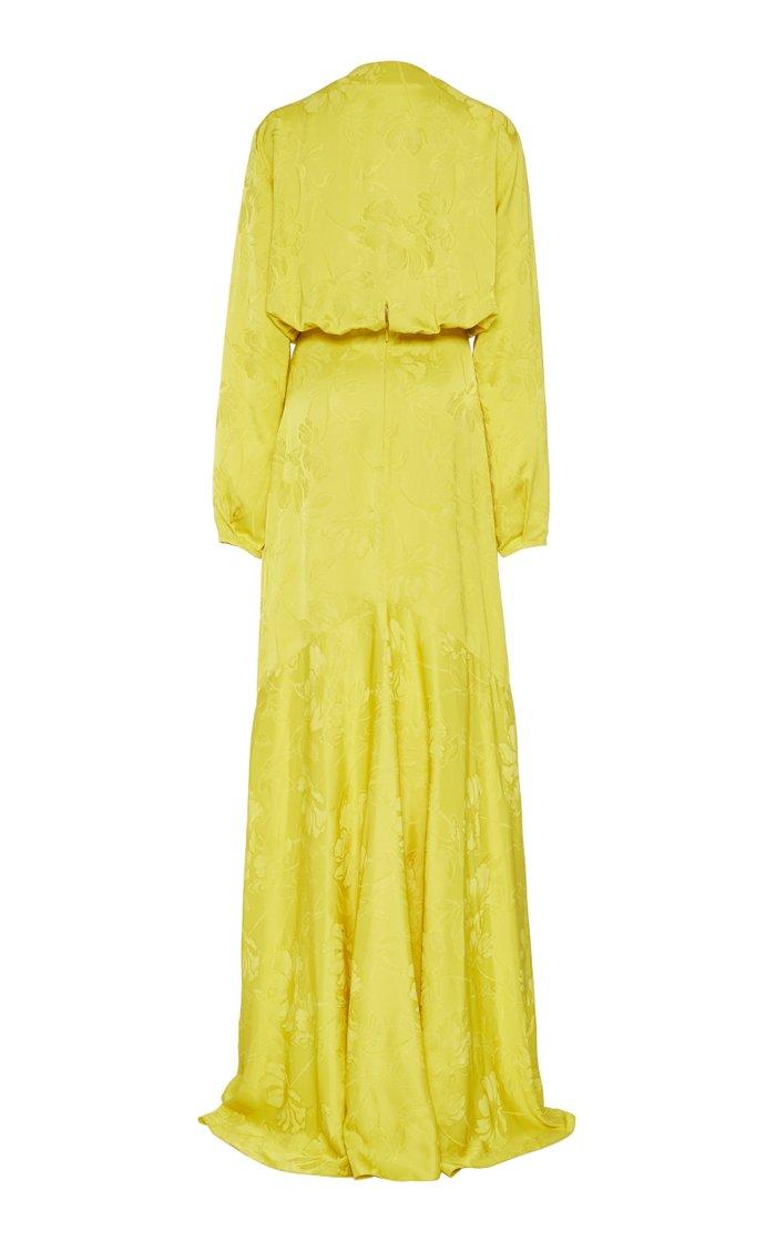 Albarella Floral Jacquard Maxi Wrap Dress