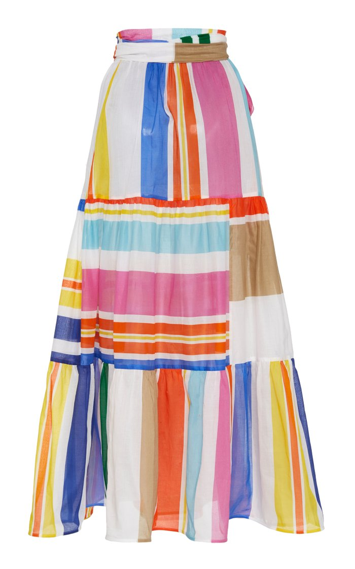 Binasco Belted Printed Cotton Tiered Maxi Skirt