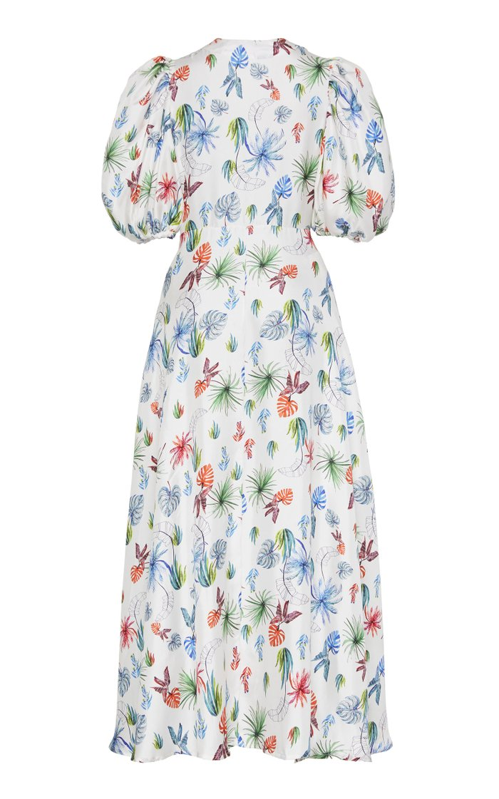 Lirio Tie-Waist Printed Silk Dress