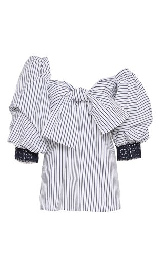 Aosta Asymmetric Striped Cotton Poplin Top