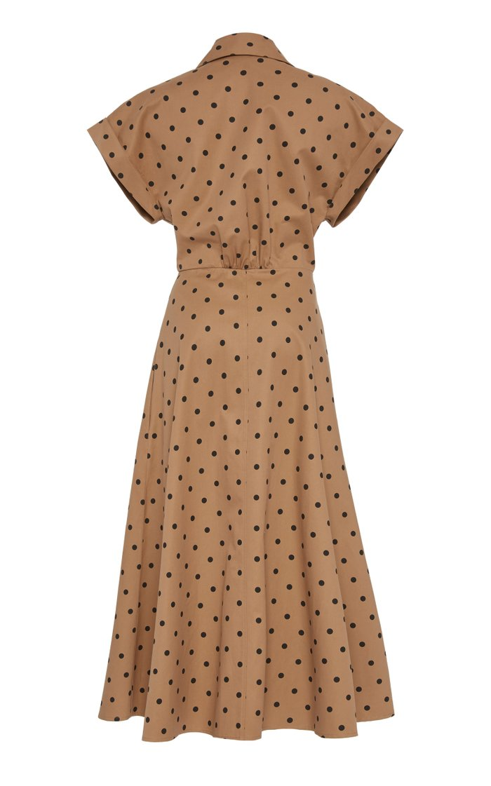Rigone Belted Polka-Dot Cotton Shirt Dress
