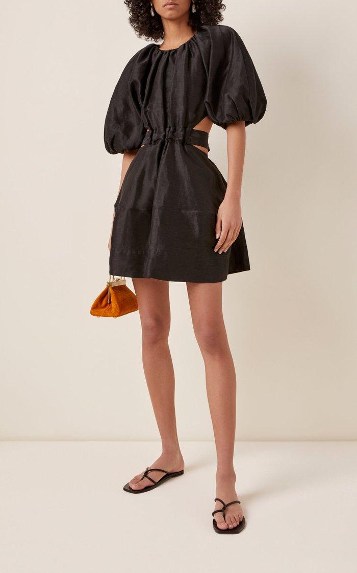 Psychedelia Cutout Linen-Blend Mini Dress