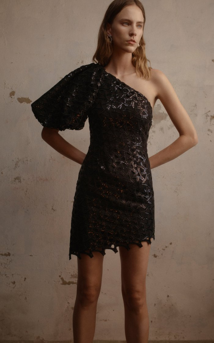 Motocyclette Embellished Lace Mini Dress
