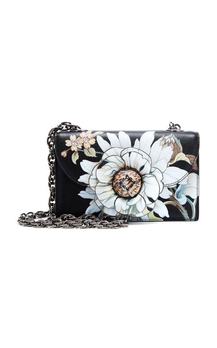Tro Floral-Appliquéd Leather Shoulder Bag