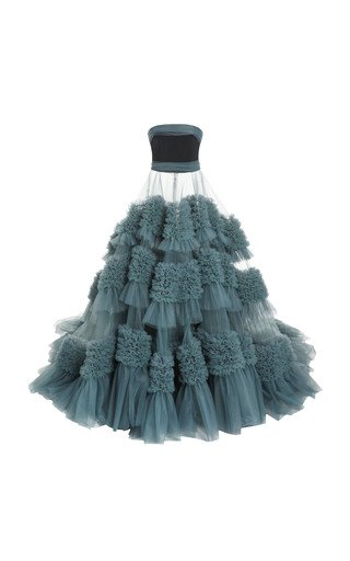 Specialorder-Strapless Embroidered Tulle Gown-YB