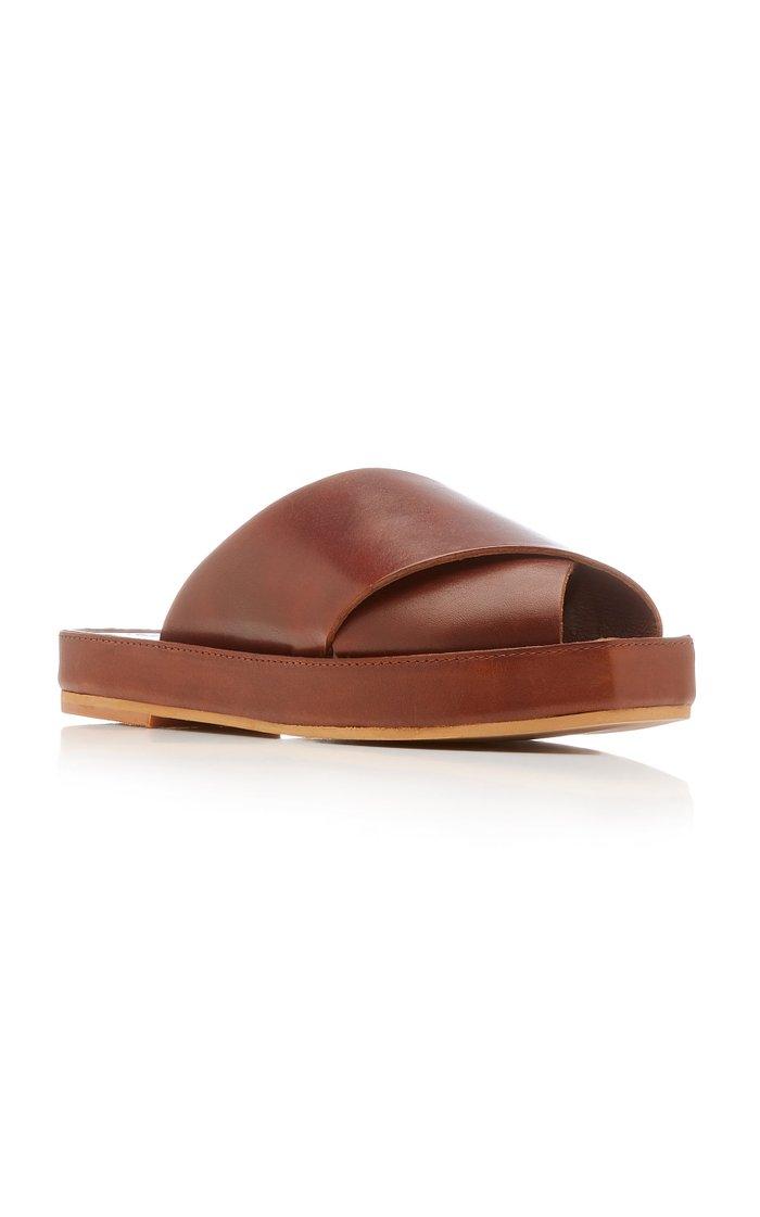 Tokyo Leather Platform Slides