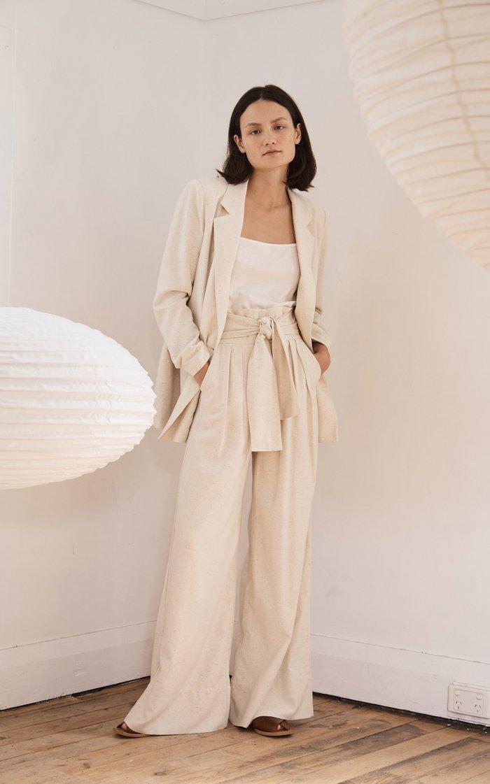Kisho Belted Silk Wide-Leg Trousers