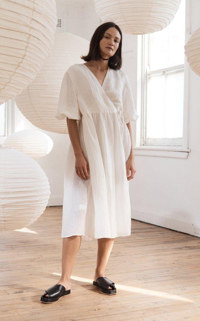 Yoko Linen-Silk Wrap Dress