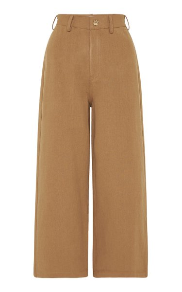 Jerry Cotton-Linen Cropped Straight-Leg Pants