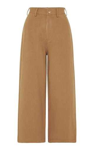Jerry Cotton-Linen Cropped Straight-Leg Pants