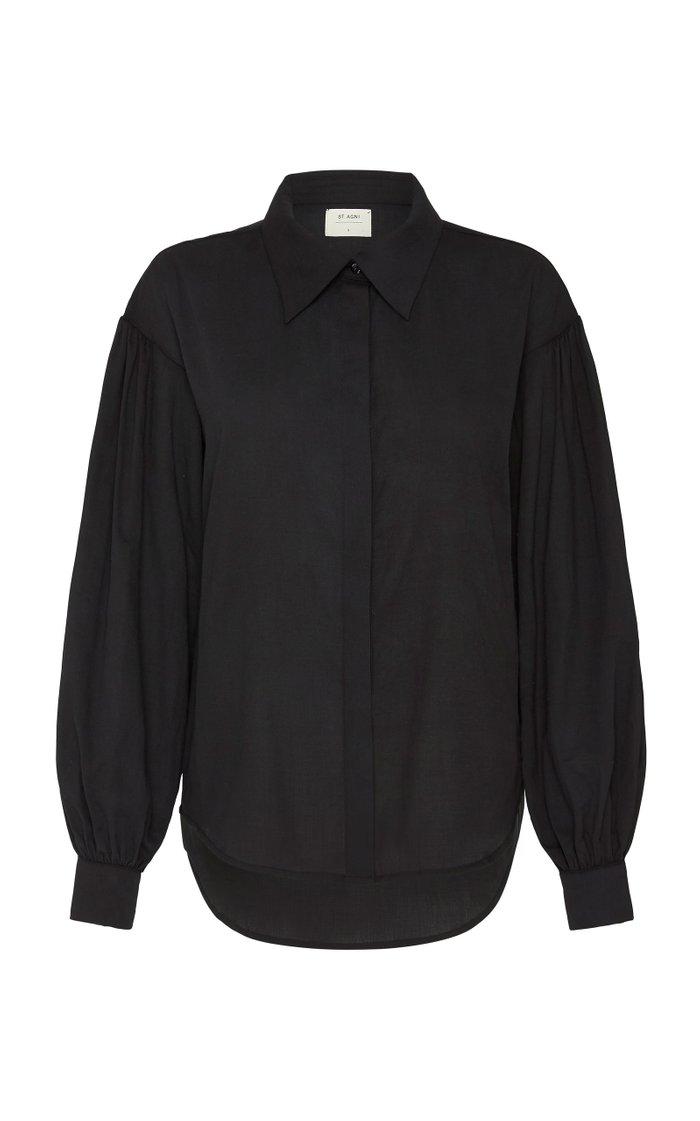 Daiki Oversized Cotton Puff-Sleeve Shirt