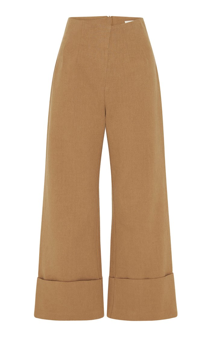 Kazashi Cotton-Linen Cropped Flared-Leg Pants